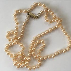 Vintage G.Silver Knotted Faux Pearl Necklace, 33""